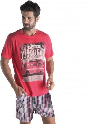 Pijama Pettrus hombre corto algodón rojo
