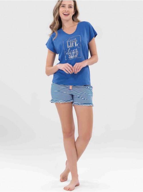 Pijama Blackspade mujer viscosa manga corta azul