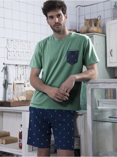 Pijama Admas hombre corto Always bolsillos