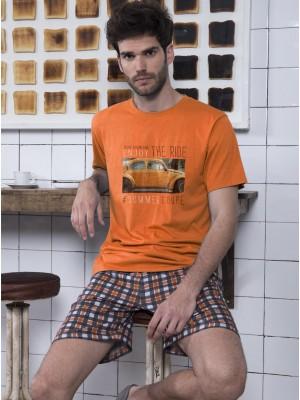 Pijama Admas hombre Ride algodón naranja cuadros