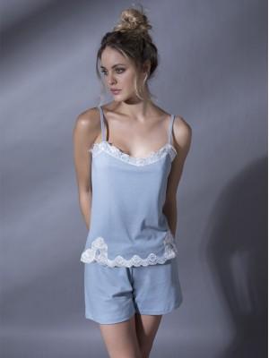 Pijama Admas mujer style azul o rosa tirante puntilla