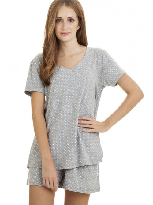 Pijama mujer J&J Brothers corto gris estrellas