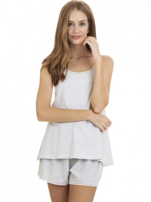 Pijama mujer J&J Brothers corto blanco gris tirante