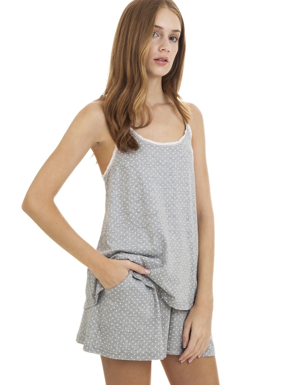 cd8efb6bb7 Pijama mujer J J Brothers corto gris estrellas tirante