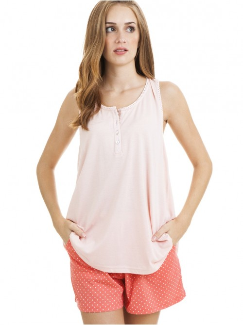 Pijama mujer J&J Brothers corto algodón coral hombrera