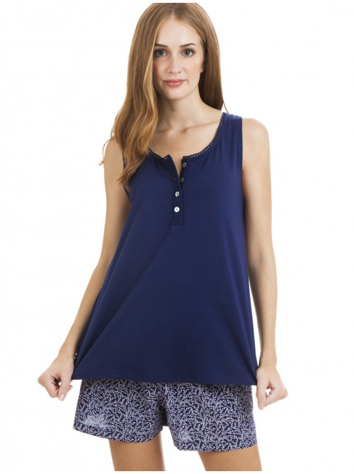 Pijama mujer J&J Brothers corto azul algodón viscosa hombrera