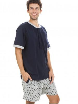 Pijama hombre J&J Brothers algodón azul gris abierto