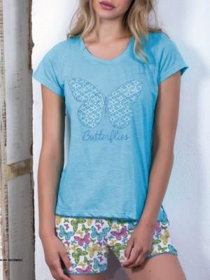 Pijama Admas mujer Butterflies algodón turquesa