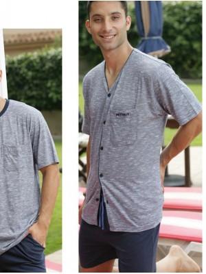 Pijama hombre Pettrus corto abierto algodón bolsillos