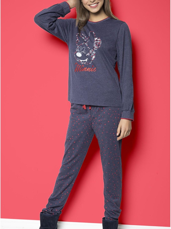 Pijama Disney Minnie Largo Mujer Algodon Otono Invierno