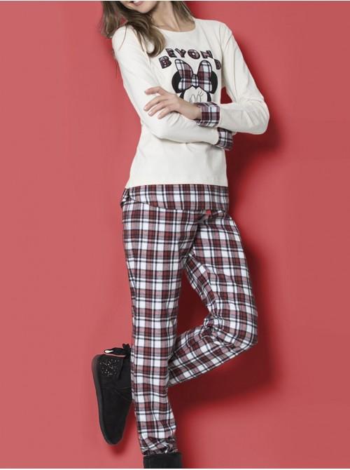 Pijama Disney Minnie Beyond largo mujer algodón beige otoño invierno