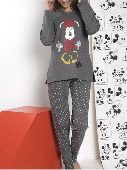 Pijama mujer Disney Minnie largo algodón marengo jaspe otoño invierno