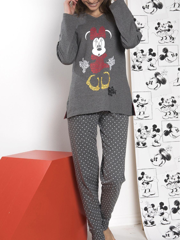 ddb5012bca Pijama mujer Disney Minnie largo algodón marengo jaspe otoño invierno