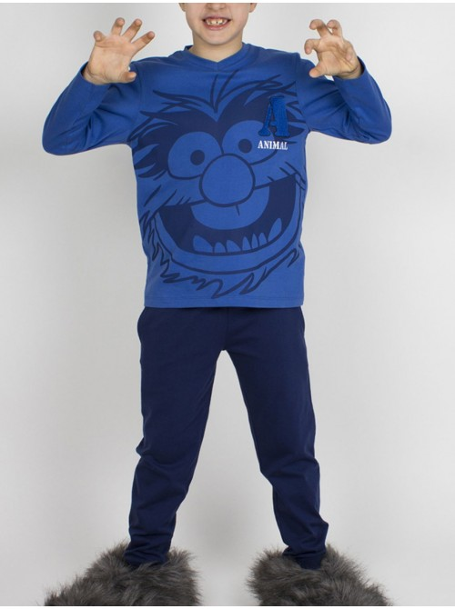 Pijama niño Disney Animal Stripes algodón azul bolsillos