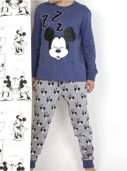 Pijama juvenil Disney Mickey ZZZ algodón azul