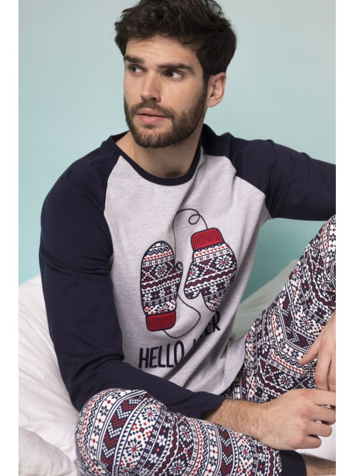 Pijama hombre ADMAS Hello Winter algodón puños