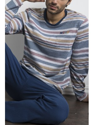 Pijama hombre Antonio Miró bolsillos algodón rayas colores