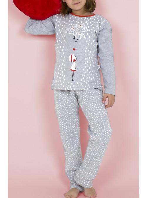 Pijama niña Nina Umbrellas algodón gris