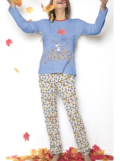 Pijama mujer Nina Leaves algodón azul puños
