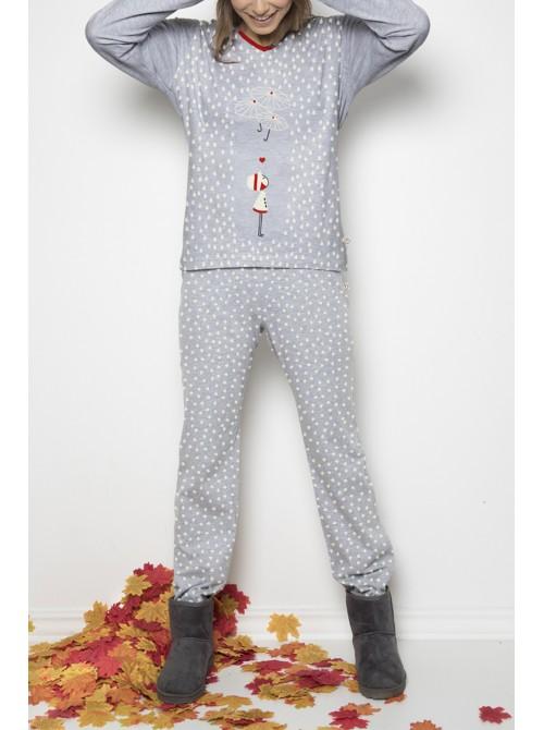 Pijama mujer Nina Umbrellas algodón gris