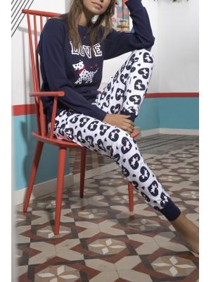 Pijama mujer Lou Lou Love algodón marino puños