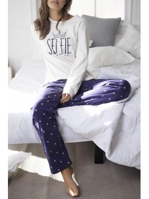 Pijama mujer Admas Selfie Queen crudo algodón
