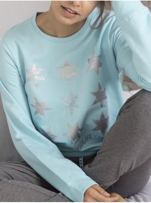 Pijama mujer Admas Stay At Home Light Up estrellas puños