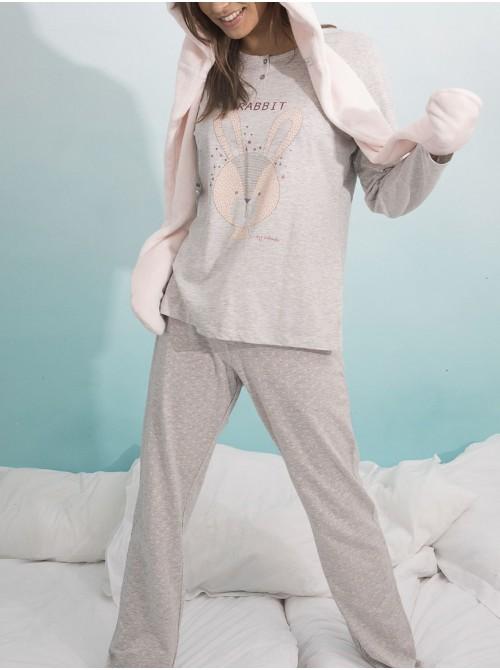 Pijama mujer Admas Soft Rabbit gris algodón