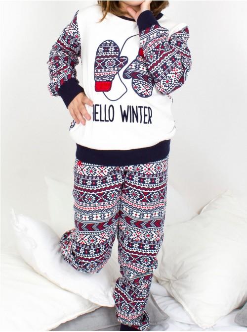 Pijama niña Admas Hello Winter crudo algodón puños slim fit