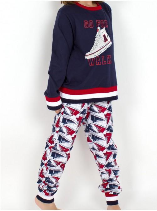 Pijama niña Admas Walk marino algodón