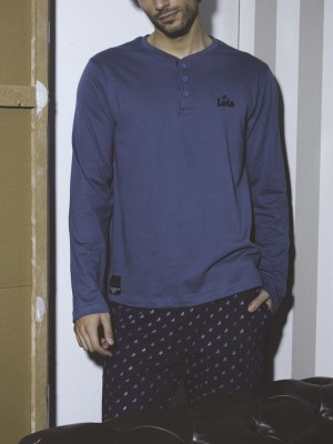 Pijama hombre Lois bolsillos algodón azul
