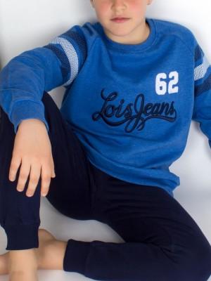 Pijama niño Lois LS azul algodón bolsillos
