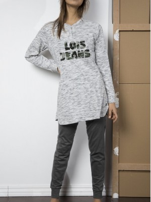 Pijama mujer Lois Jeans Hunter caqui algodón bolsillos