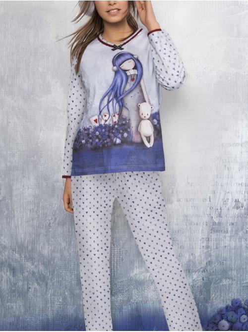 Pijama mujer Santoro Gorjuss Dear Alice malva caja regalo