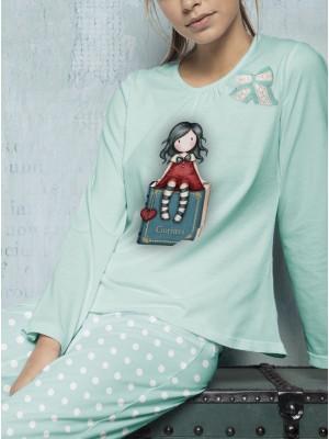 Pijama mujer Santoro Gorjuss My Story azul claro algodón caja regalo