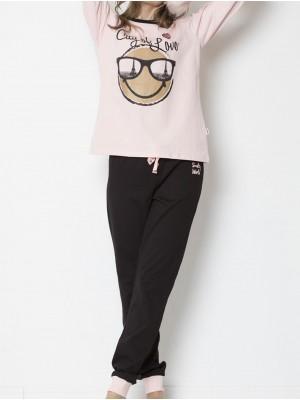 Pijama mujer Smiley París algodón rosa y negro