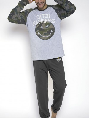 Pijama hombre Smiley Catch Happiness caqui algodón camuflaje