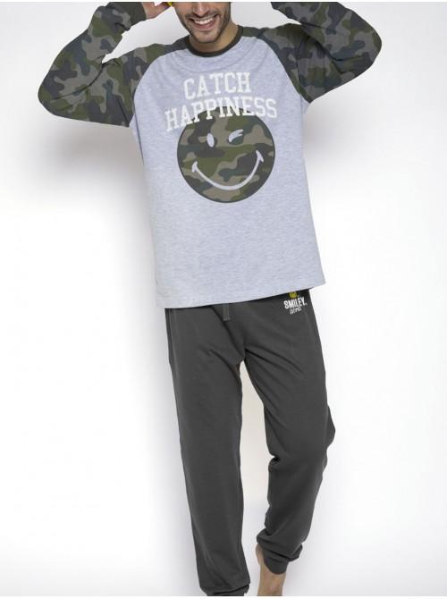 Pijama hombre Smiley Catch Happiness caqui algodón camuflaje