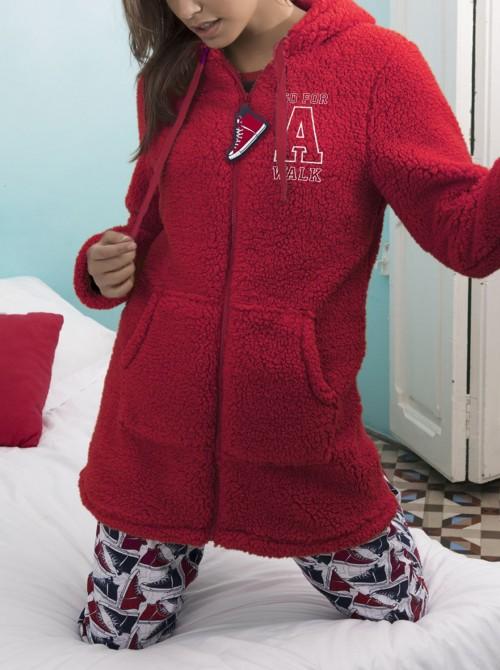 Bata mujer Admas Walk borreguito rojo cremallera bolsillos canguro