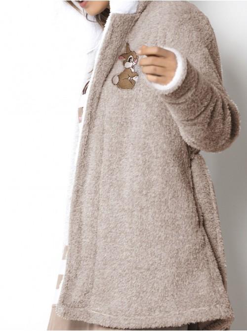 Bata corta mujer Disney Mon Amour Thumper corel gris bolsillos