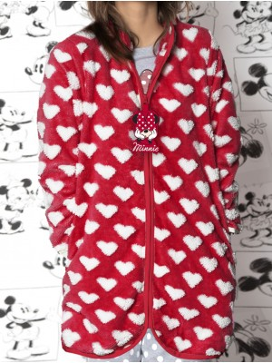 Bata corta mujer Disney Minnie corel roja jacquard bolsillos cremallera