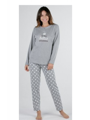 Pijama mujer Pettrus Deslumbra gris felpa y algodón