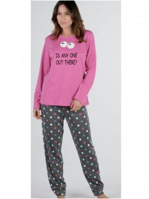 Pijama mujer Pettrus Any One rosa felpa algodón