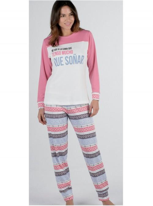 Pijama mujer Pettrus Soñar rosa felpa y algodón