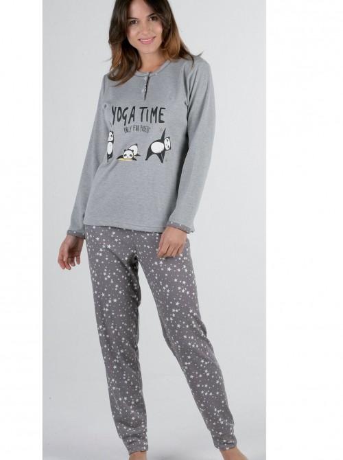 Pijama mujer Pettrus Yoga gris felpa y algodón