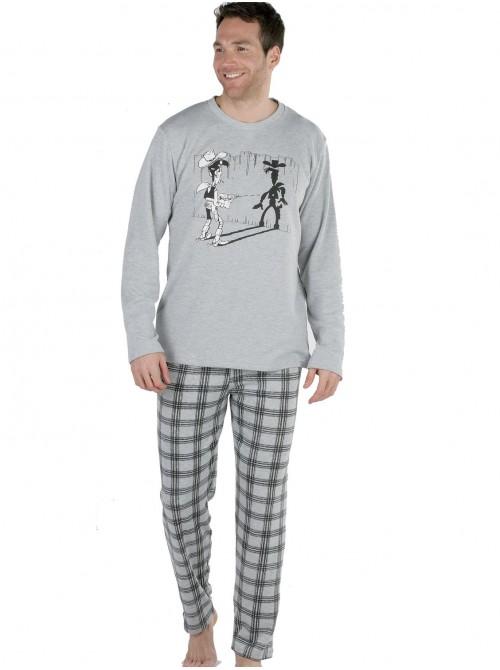 Pijama hombre Pettrus Lucky Luke gris felpa y algodón