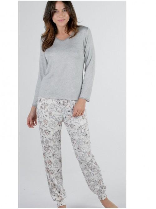 Pijama mujer Pettrus viscosa gris encaje