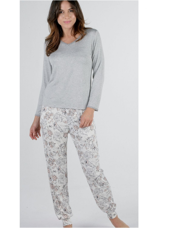 14f170382a Pijama mujer Pettrus viscosa gris encaje