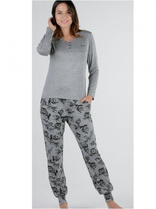 Pijama mujer Pettrus viscosa gris encaje cuello abierto