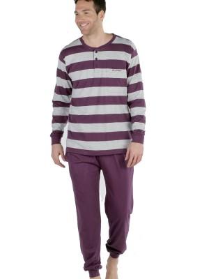 Pijama hombre Pettrus rayas berenjena algodón ecológico sostenible